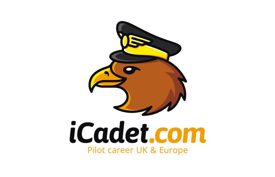 Logo pro informační web o výcviku a kariéře dopravního pilota iCadet.com (prezentace tvorby včetně maskota: www.be.net/gallery/74913203/iCadet)