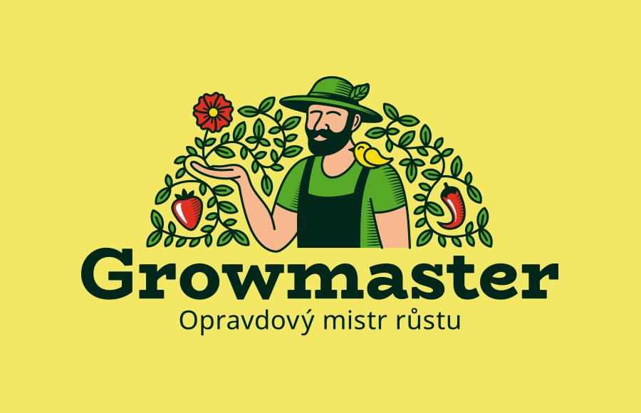 Tvorba loga pro e-shop Growmaster.cz nabízející vybavení pro pěstitele a který zároveň klientům pomáhá s jejich problémy kolem pěstování.